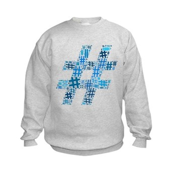 Blue Hashtag Cloud Kids Sweatshirt