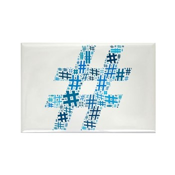 Blue Hashtag Cloud Rectangle Magnet