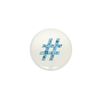 Blue Hashtag Cloud Mini Button