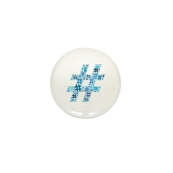 Blue Hashtag Cloud Mini Button (100 pack)