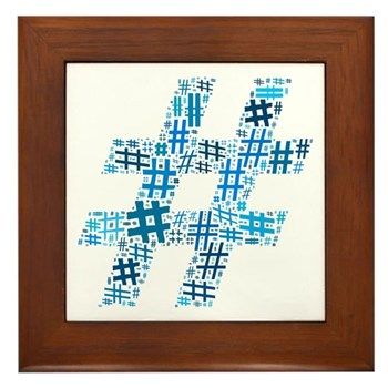 Blue Hashtag Cloud Framed Tile