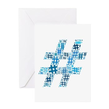 Blue Hashtag Cloud Greeting Card