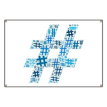 Blue Hashtag Cloud Banner