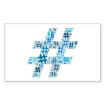 Blue Hashtag Cloud Rectangle Sticker (10 pack)