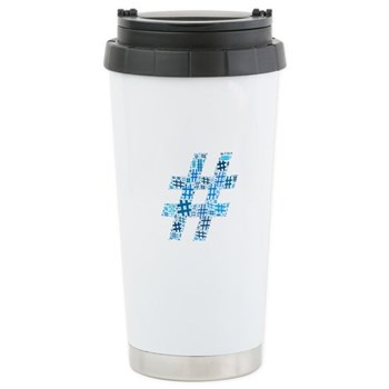 Blue Hashtag Cloud Stainless Steel Travel Mug