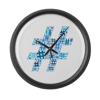 Blue Hashtag Cloud Large Wall Clock