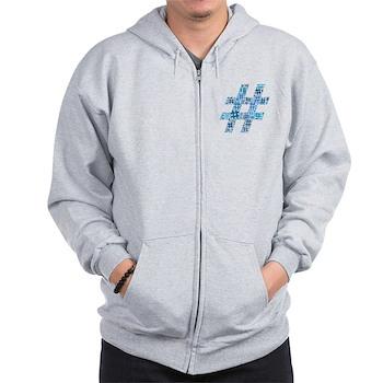 Blue Hashtag Cloud Zip Hoodie