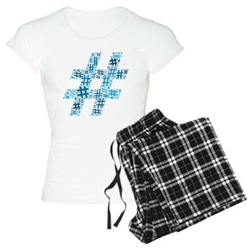 Blue Hashtag Cloud Women's Light Pajamas