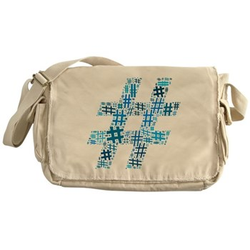 Blue Hashtag Cloud Canvas Messenger Bag