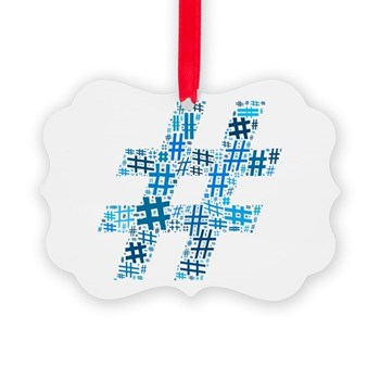 Blue Hashtag Cloud Picture Ornament