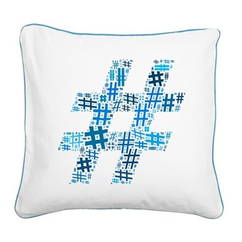 Blue Hashtag Cloud Square Canvas Pillow
