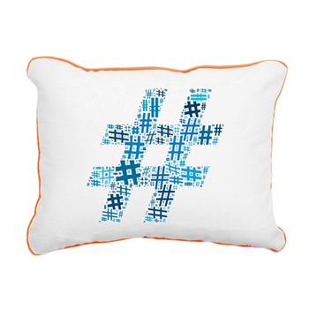 Blue Hashtag Cloud Rectangular Canvas Pillow
