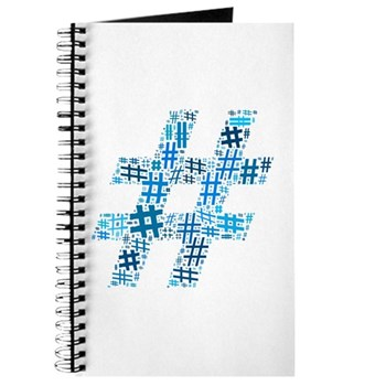 Blue Hashtag Cloud Journal
