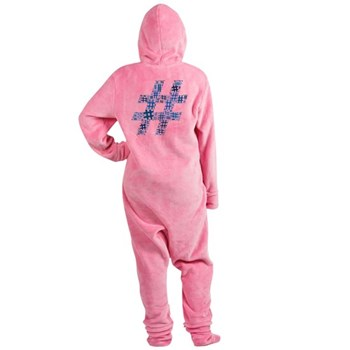 Blue Hashtag Cloud Footed Pajamas