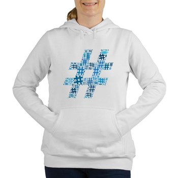 Blue Hashtag Cloud Women's Hooded Sweatshirt
