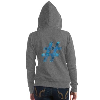 Blue Hashtag Cloud Women's Zip Hoodie