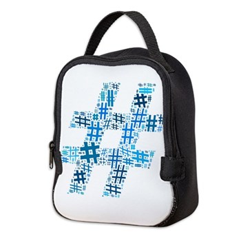 Blue Hashtag Cloud Neoprene Lunch Bag