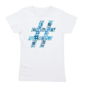 Blue Hashtag Cloud Girl's Tee