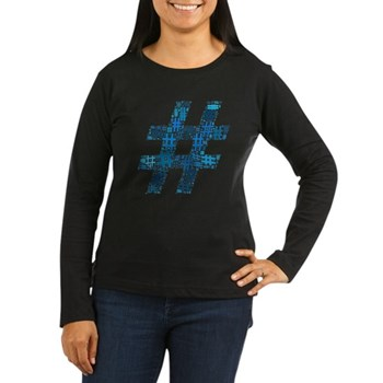 Blue Hashtag Cloud Women's Dark Long Sleeve T-Shir