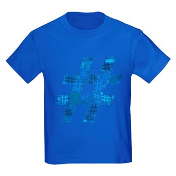 Blue Hashtag Cloud Kids Dark T-Shirt