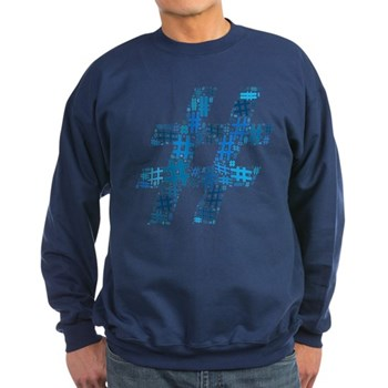 Blue Hashtag Cloud Dark Sweatshirt
