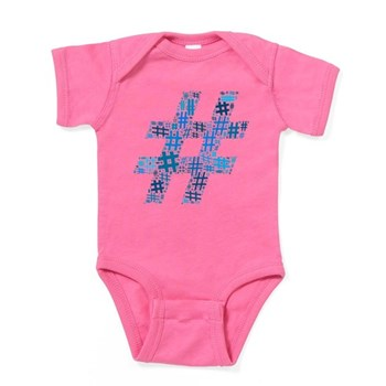 Blue Hashtag Cloud Baby Bodysuit