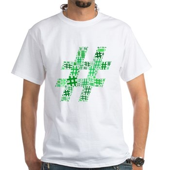 Green Hashtag Cloud White T-Shirt