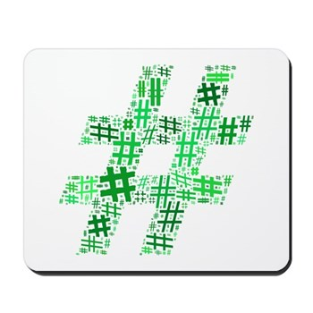Green Hashtag Cloud Mousepad