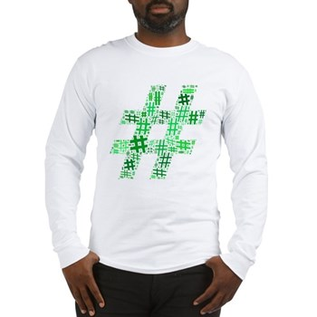 Green Hashtag Cloud Long Sleeve T-Shirt