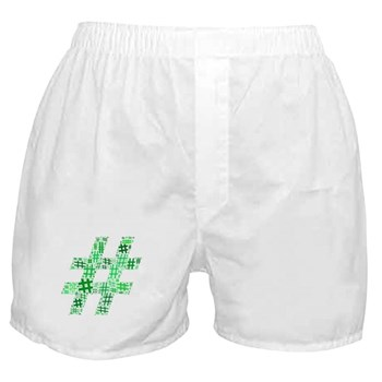 Green Hashtag Cloud Boxer Shorts