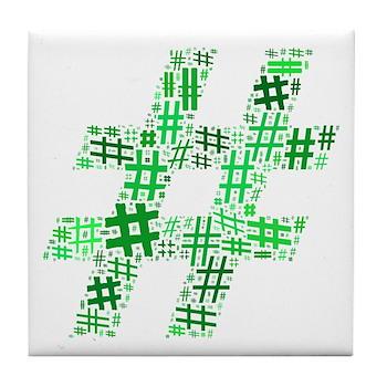 Green Hashtag Cloud Tile Coaster