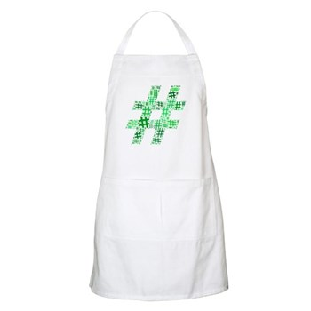 Green Hashtag Cloud Apron