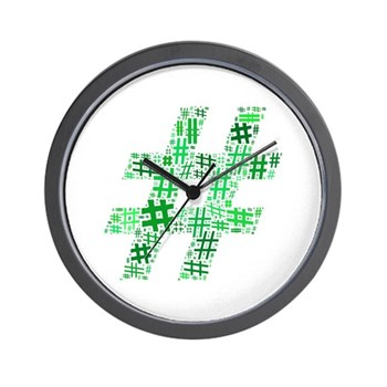 Green Hashtag Cloud Wall Clock