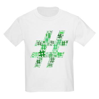 Green Hashtag Cloud Kids Light T-Shirt