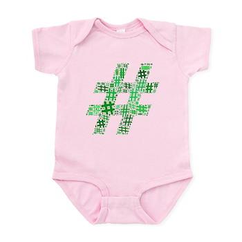 Green Hashtag Cloud Infant Bodysuit