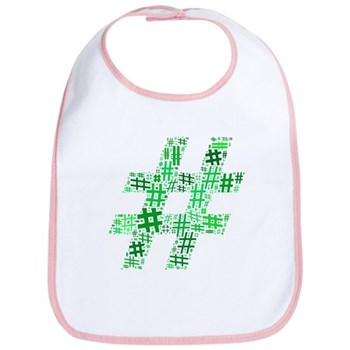Green Hashtag Cloud Bib