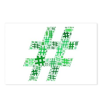 Green Hashtag Cloud Postcards (Package of 8)