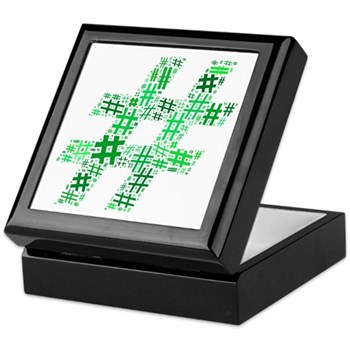 Green Hashtag Cloud Keepsake Box