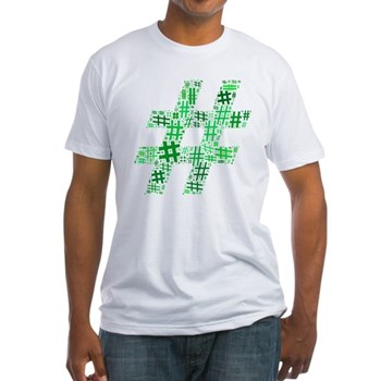 Green Hashtag Cloud Fitted T-Shirt