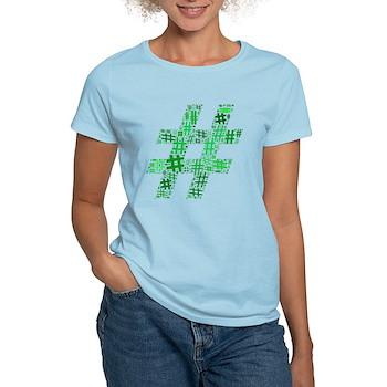 Green Hashtag Cloud Women's Light T-Shirt
