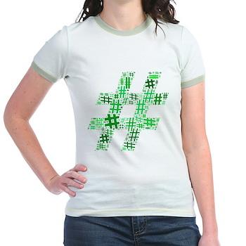 Green Hashtag Cloud Jr. Ringer T-Shirt