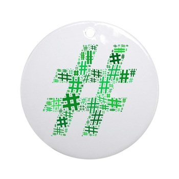Green Hashtag Cloud Round Ornament