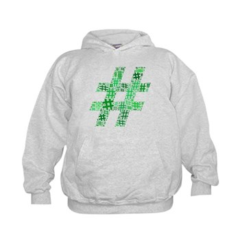 Green Hashtag Cloud Kid's Hoodie