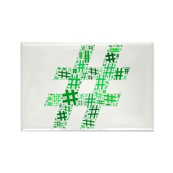 Green Hashtag Cloud Rectangle Magnet (10 pack)