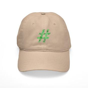 Green Hashtag Cloud Cap