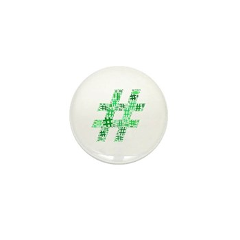 Green Hashtag Cloud Mini Button