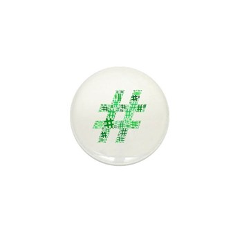Green Hashtag Cloud Mini Button (100 pack)