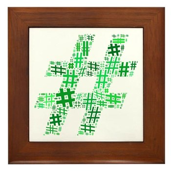 Green Hashtag Cloud Framed Tile