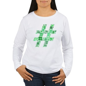 Green Hashtag Cloud Women's Long Sleeve T-Shirt