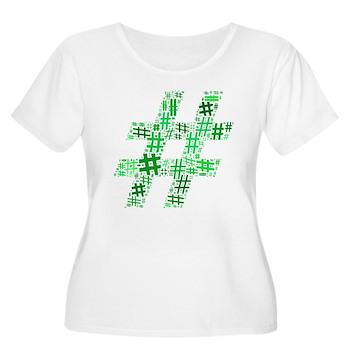 Green Hashtag Cloud Women's Plus Size Scoop Neck T